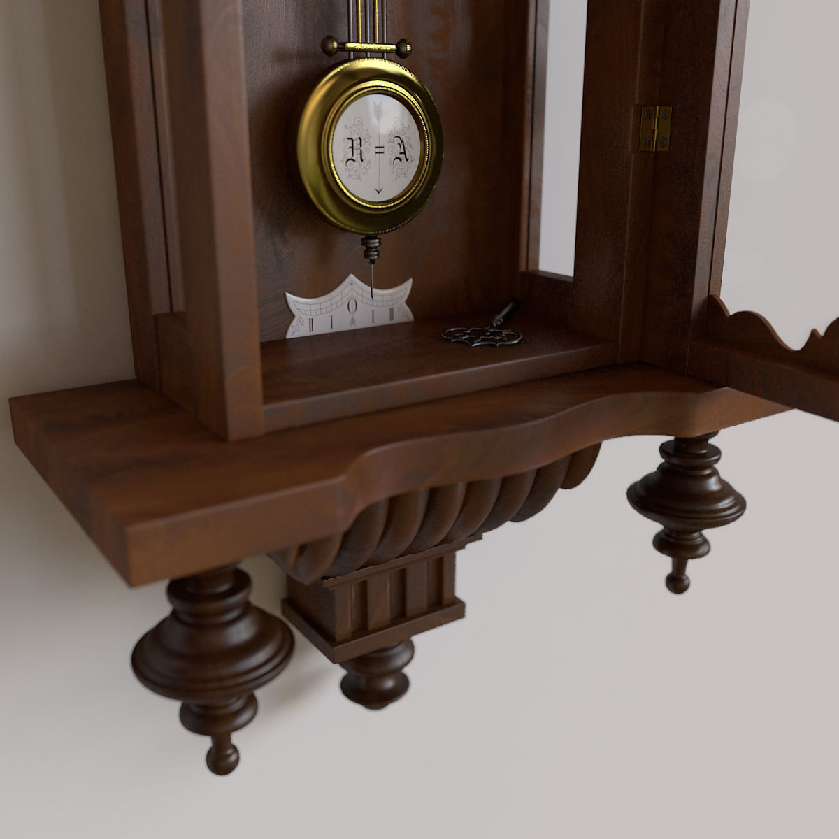 Antique Pendulum Wall Clock 3d Model Max Obj Cgtrader Com