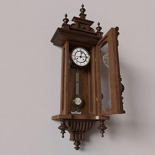 Antique Pendulum Wall Clock Model Max Obj Mtl 3
