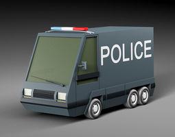 3D model low-poly Cartoon car police