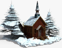 3d model snow covered wood house