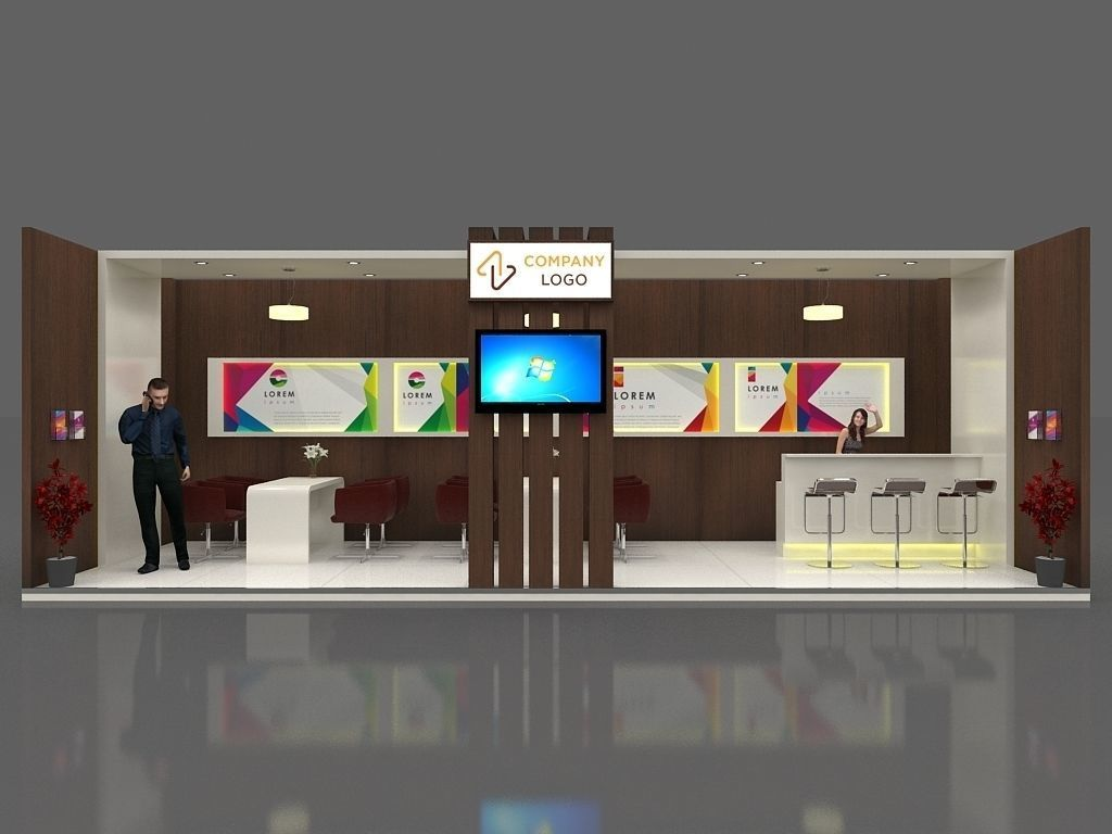 Exhibition Stall Material : Exhibition stall 3d model 9x3 mtr 1 side open stand