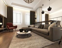 Living Room Interior 3D Model 01