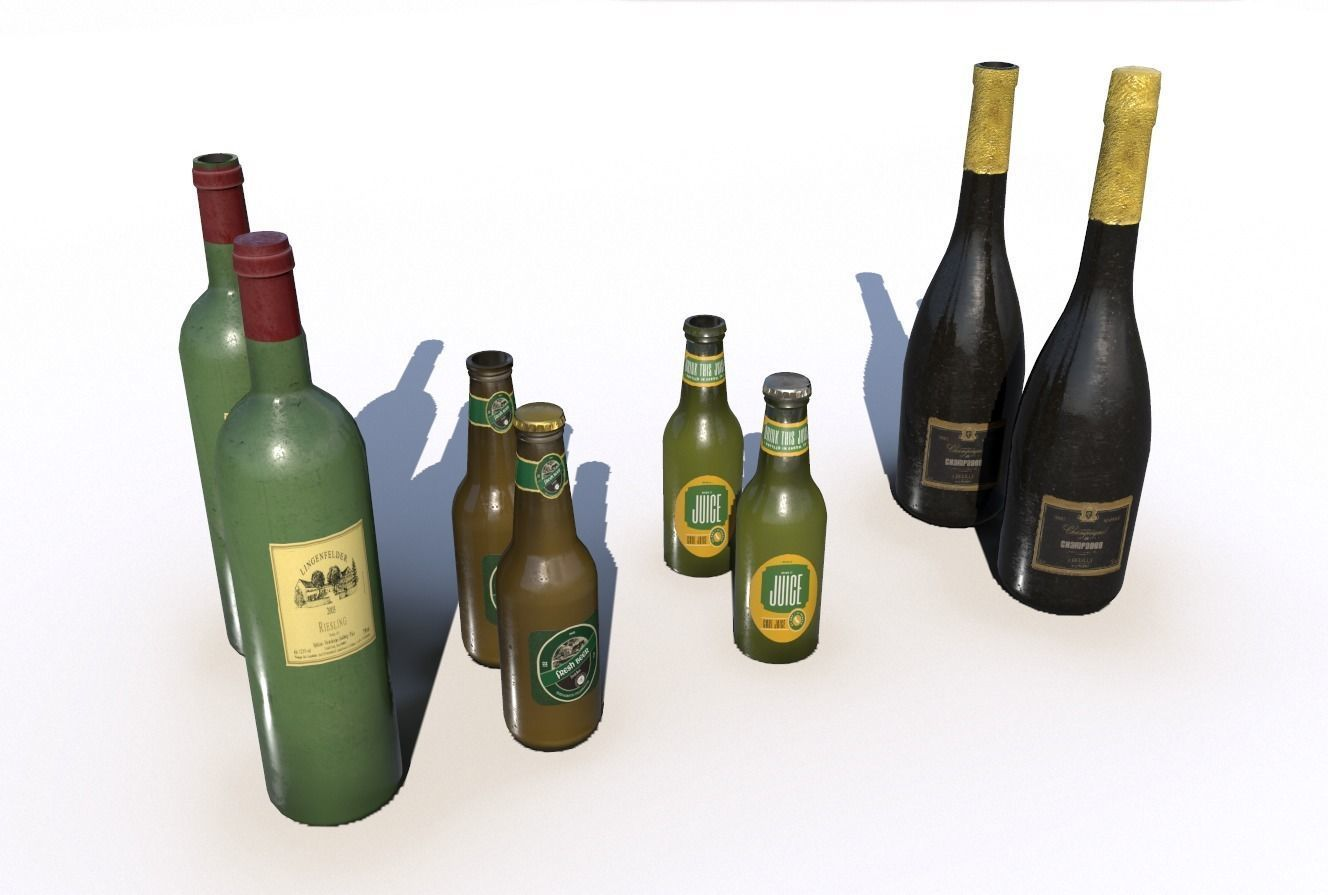 Beer juice wine and champagne bottles