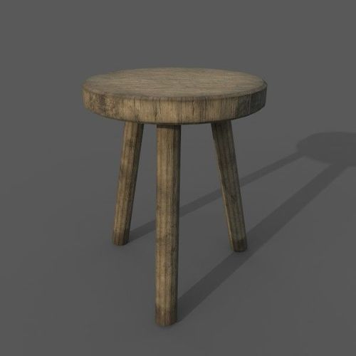 wooden medieval small chair 3d model low-poly obj mtl fbx 1 ... & 3D model Wooden Medieval Small Chair | CGTrader