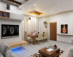 Living and Dinning Room 3D model