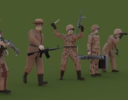 3D model Collection of soldiers war