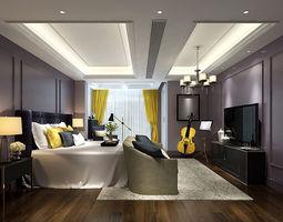 3D model Stylish bedroom complete 205
