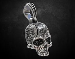 Pendant skull with patterns 205 3D print model