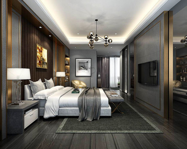Stylish Master Bedroom Design 40 40D Model Delectable Bedroom 3D Design