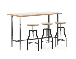 animated 3d model bar table with stools
