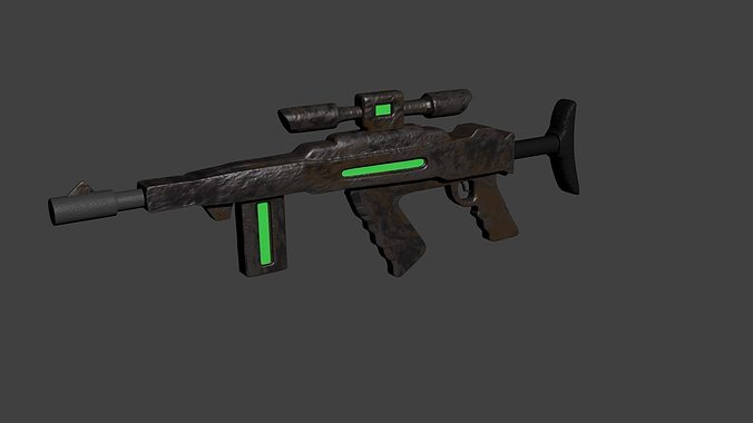 Futuristic rusty assault rifle 3d cgtrader for Futuristic household items
