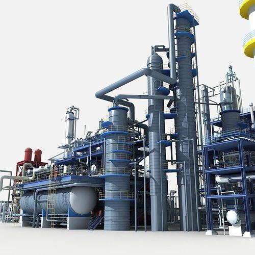refinery 3d model max obj fbx stl 1