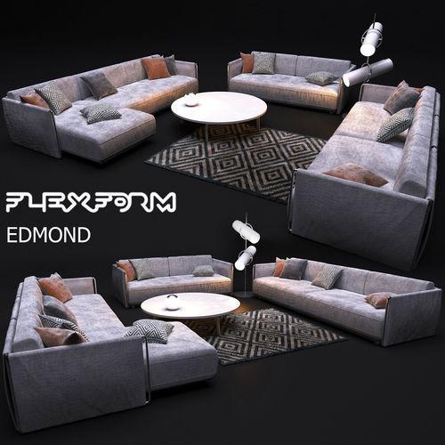 sofa flexform edmond 3d model max obj mtl 1