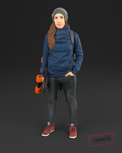 girl 01 skater - 3d scan printable 3d model obj mtl 1