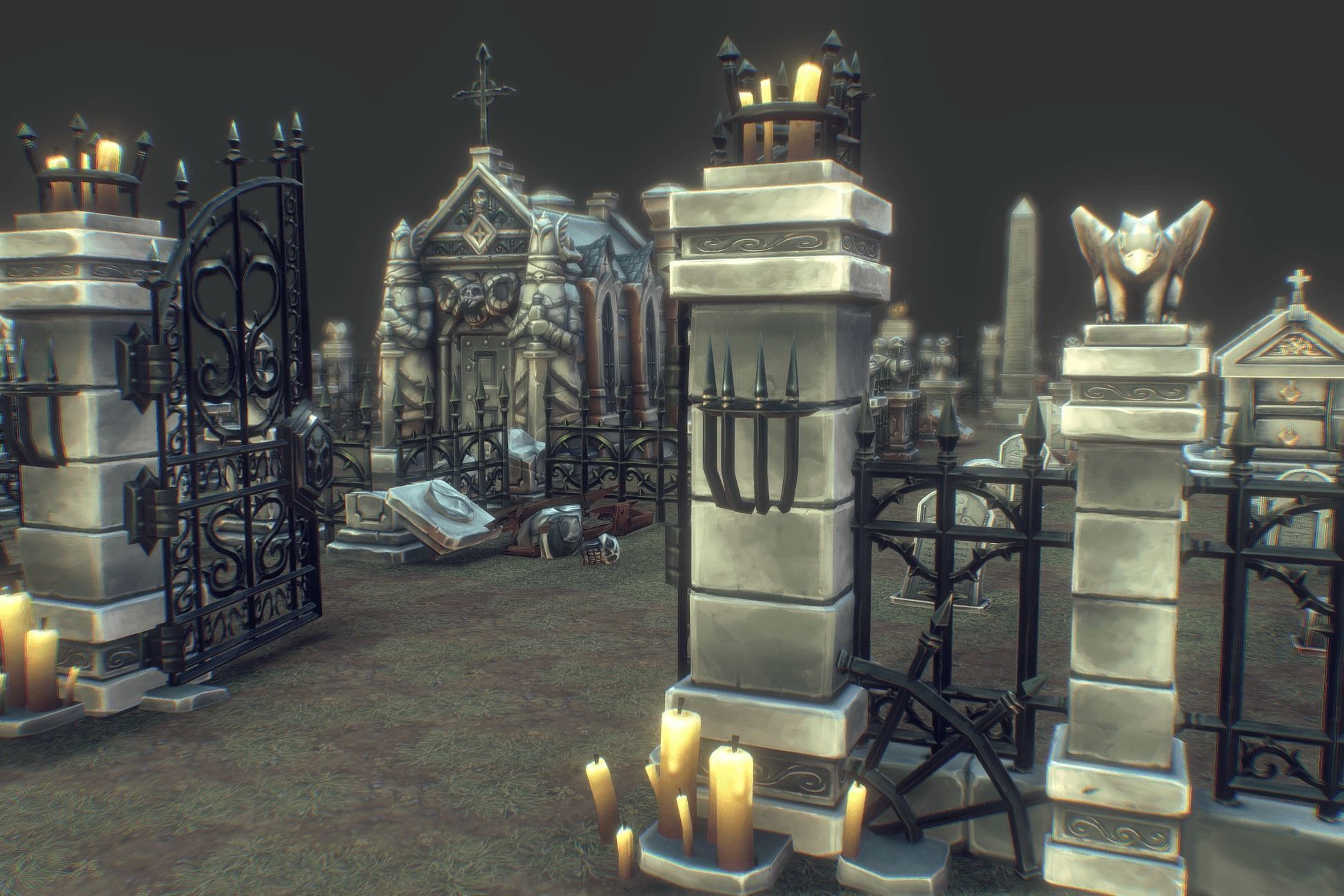 Cemetery Starter Set - Low Poly Hand Painted