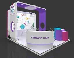 Exhibition stall 3d model 5x4 mtr 3 sides open stand