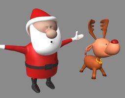 3D asset Santa and Deer Models