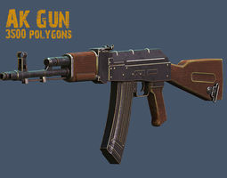 low-poly ak gun 3d model