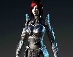 animated 3d model realtime black knightress