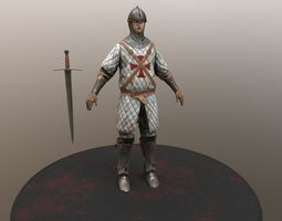crusader warrior animated low-poly 3d asset