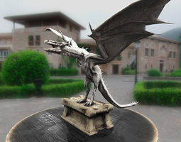game-ready dragon statue 3d model