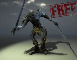 animated 3d asset free troll VR / AR ready