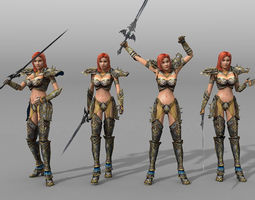 animated female warrior game-ready 3d asset