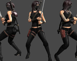realtime animated ninja assassin 3d model