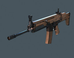 rifle scar m16 realtime 3d asset
