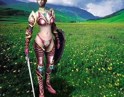 Royal Female Warrior 3D asset animated