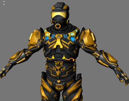 tech trooper animated 3d model realtime