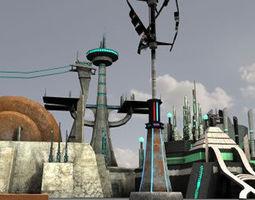 Sci Fi Buildings 3D model
