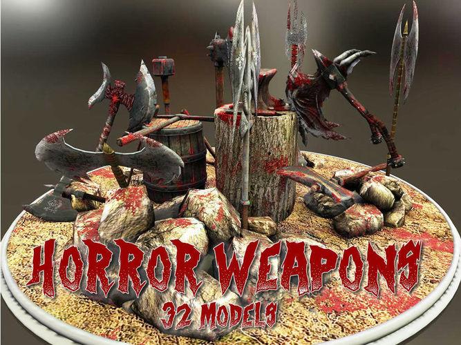horror weapons 3d model low-poly obj mtl fbx lwo lw lws dae X u3d 1