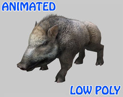 Low poly Wild Boar Animated - Game Ready 3D model
