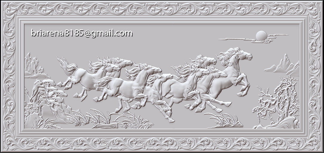 Mural Horse wood carving file stl OBJ and ZTL  for CNC