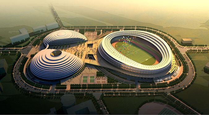 grand stadium with posh exterior 3d model max obj mtl fbx 1