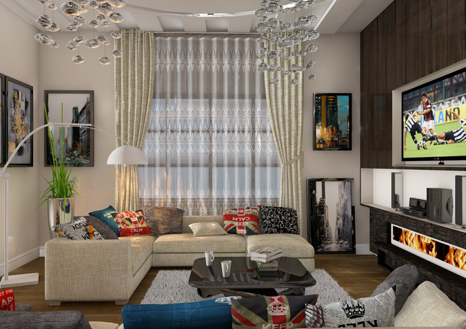living room 3d model c4d 1