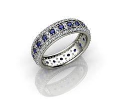Diamond and Sapphire Wedding Ring 3D print model