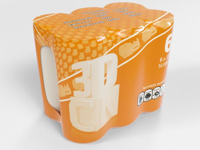 6 pack 330ml sleek shrinkwrapped beverage cans 3d model max obj mtl fbx c4d blend 1