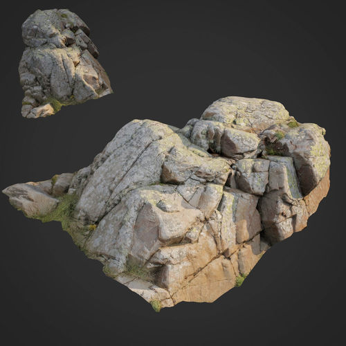 3d scanned nature stone 019 3d model low-poly max obj fbx 1