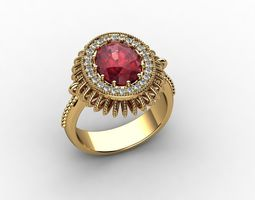 Oval Ruby and Diamond Halo Ring 3D print model