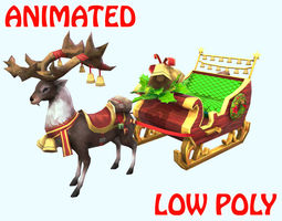 Low poly Claus deer sled Animated - Game Ready 3D model