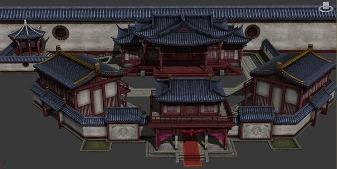 chinese theatre  3d model low-poly max obj mtl fbx ma mb 1