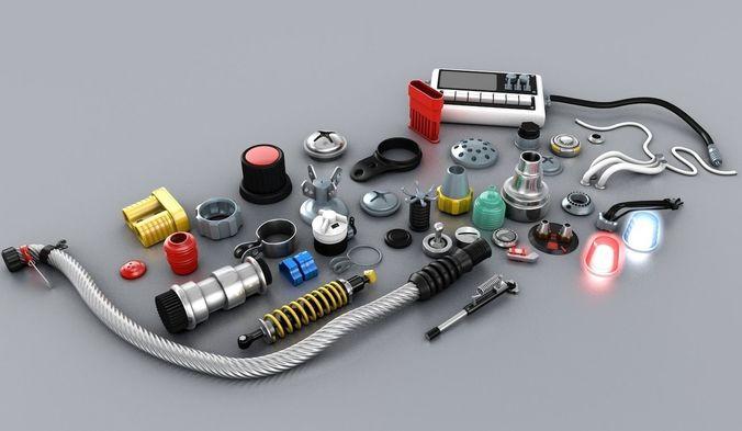 electronic technic parts 3d model c4d 1
