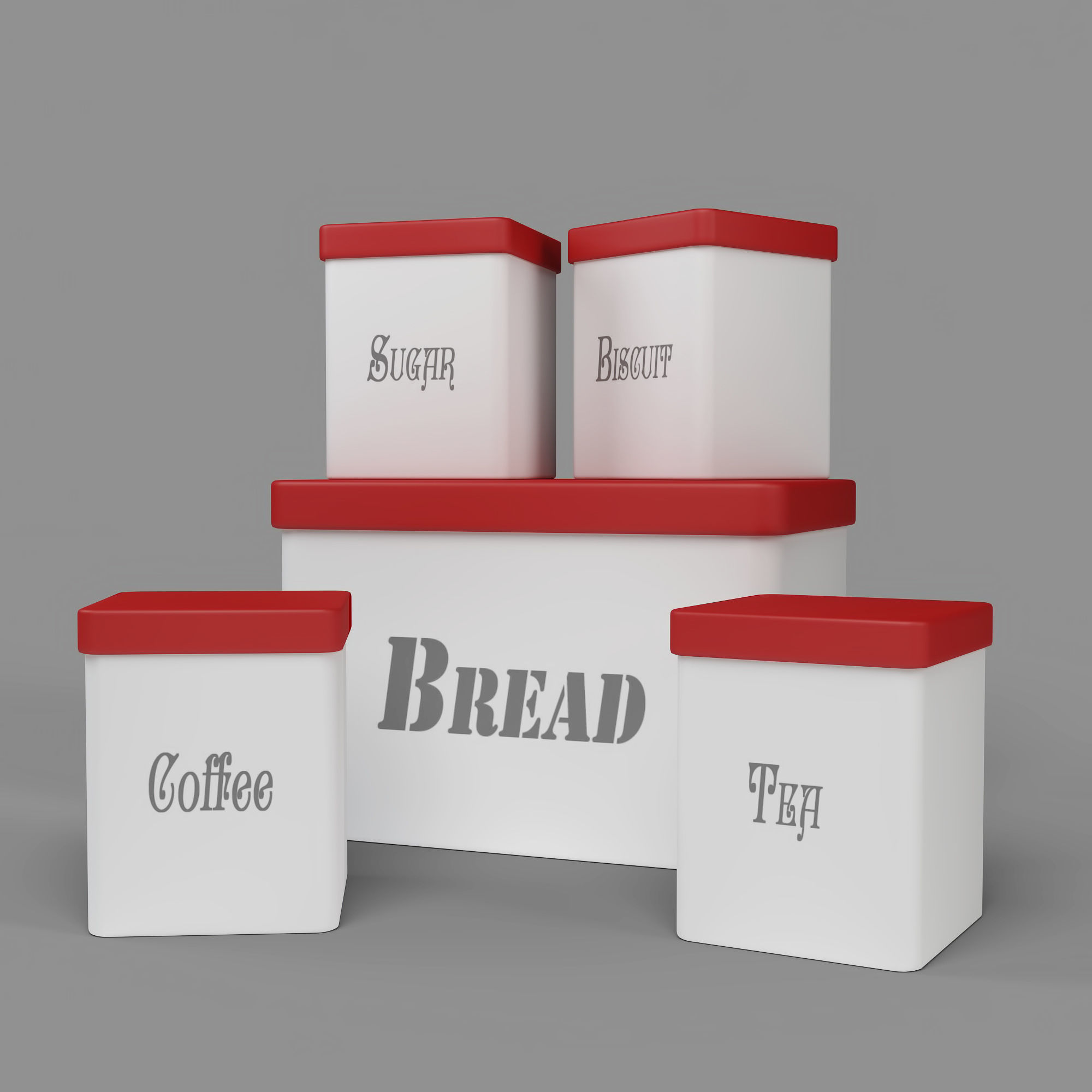 Kitchen Container Set Bread Bin Tea Coffee Sugar Biscuit Model