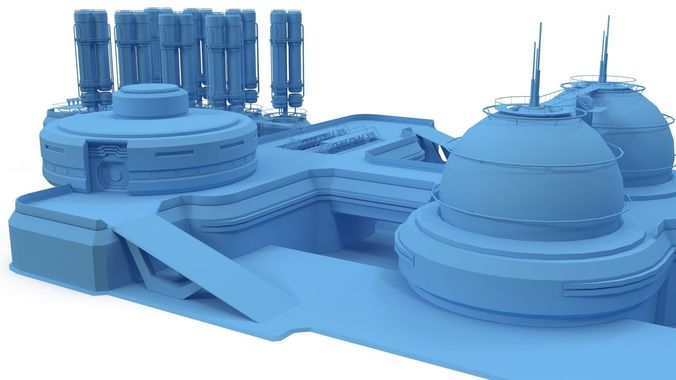 sci-fi gas storage base 3d model max obj mtl 3ds fbx 1