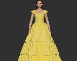 Girl Belle in yellow dress 3D print model