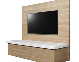 TV Wall Panel with a Flat Screen TV 3D model