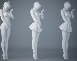 Japanese female student uniforms two 3D print model