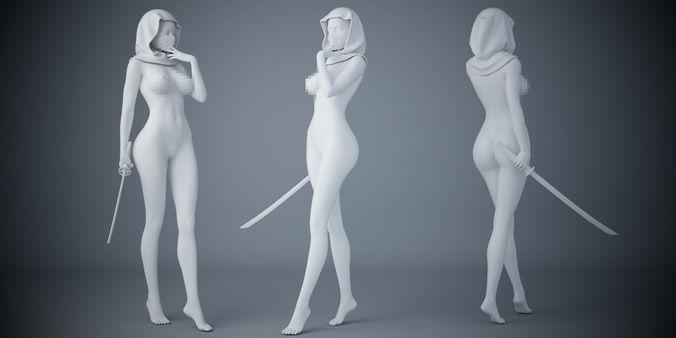 female ninja 3d model stl 1